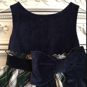 Janie and Jack Holiday Velvet Silk Bow Dress 12-18